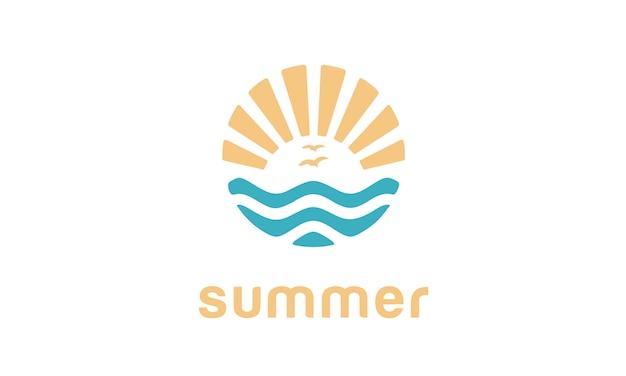 여름 해변 로고 디자인