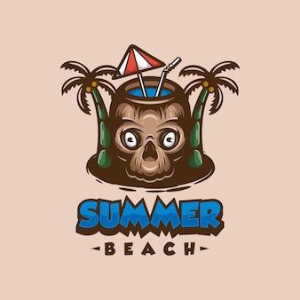 Летний пляж логотип талисман