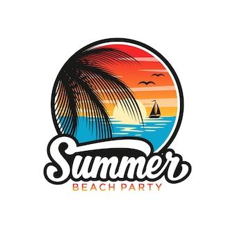 Summer beach logo template