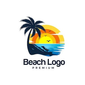 Летний пляж логотип шаблон