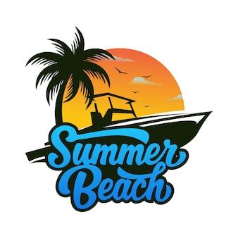 夏のビーチのロゴ
