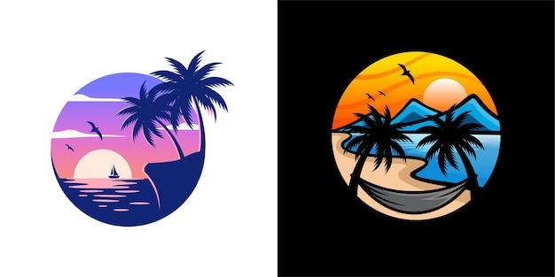 여름 해변 로고