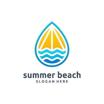 여름 해변 현대 로고 벡터