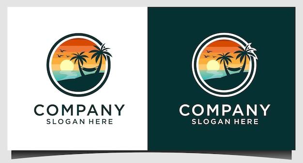 Шаблон логотипа летнего пляжа