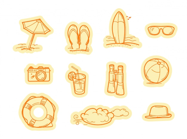 Summer beach objects vector stickers. vector stickers set isolated