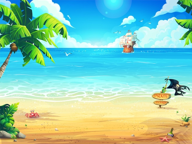 Summer beach and palm trees on the background of the sea and frigate.