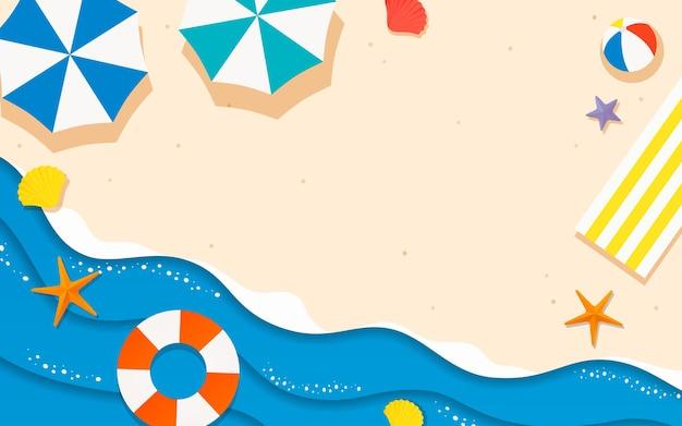 Летний пляж бумага в стиле арт фон