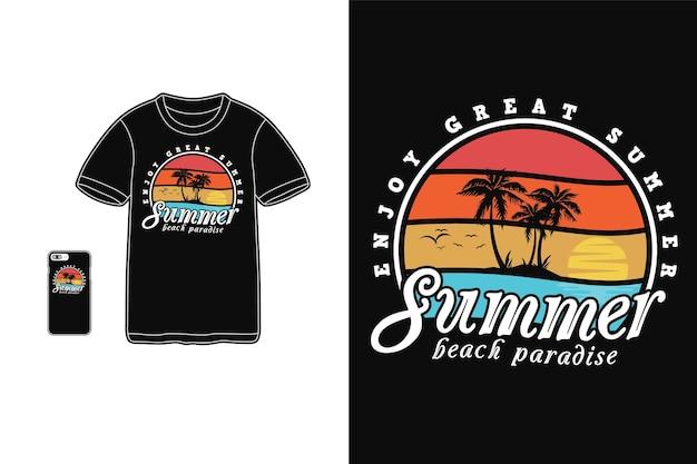 Летний пляжный рай дизайн для футболки силуэт в стиле ретро