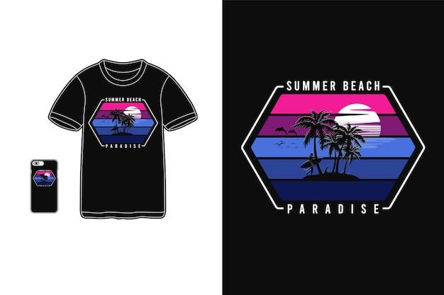 Летний пляжный рай, дизайн футболки, силуэт в стиле ретро