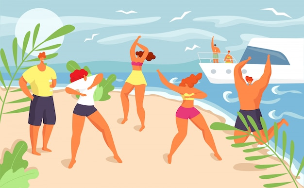 Летняя вечеринка на пляже в веселый отпуск, иллюстрация. молодая девушка мальчик группы танцуют на берегу моря, счастливые мужчины женщина люди в бикини. красивый праздник, тропическое счастье.