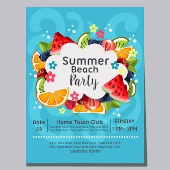 Summer beach party beach wave background fresh fruit poster  illustration