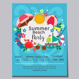 Summer beach party beach wave background holiday poster template vector illustration