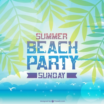 Summer beach party card with palm trees