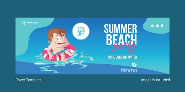 Summer beach party cover page template