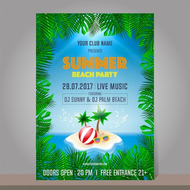 Summer beach party design template