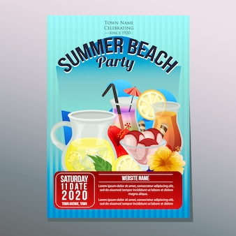 Summer beach party festival holiday poster template refreshment vector illustration