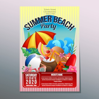 Summer beach party festival holiday poster template umbrella beach
