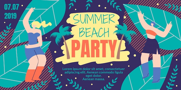 Summer beach party flat cartoon