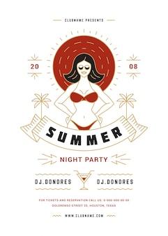 Лето пляжная вечеринка флаер или плакат шаблон современная линия типография стиль дизайна.