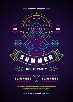 Летом пляжная вечеринка флаер или плакат шаблон неоновые вывески дизайн в стиле типографии.