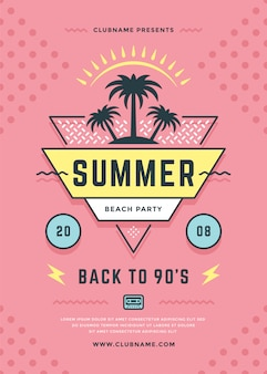 여름 해변 파티 전단지 또는 포스터 템플릿 인쇄 술 스타일.