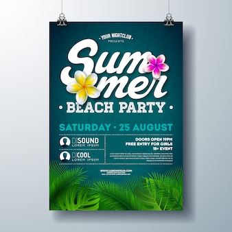 Summer beach party flyer or poster design with flower and tropical palm leaves