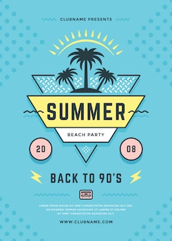 Summer beach party flyer or poster template 90s typography