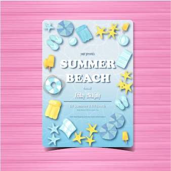 Summer beach party flyer or poster template invitation