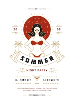 Summer beach party flyer or poster template modern line typography style design.