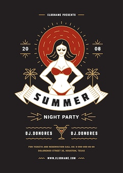 Summer beach party flyer or poster template modern line typography