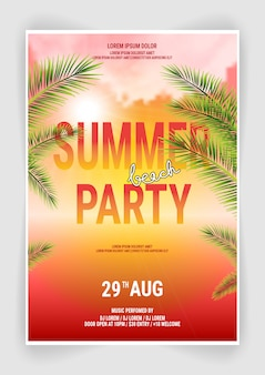 Summer beach party flyer template design with typographic design with palm trees