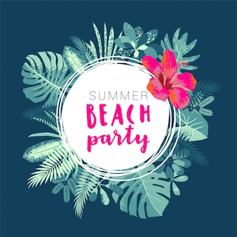 Summer beach party flyer template with tropical leaves