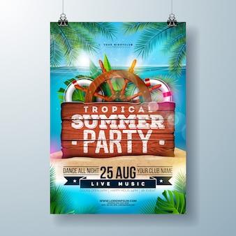 Летняя вечеринка на пляже с тропическими пальмовыми листьями и элементами доставки