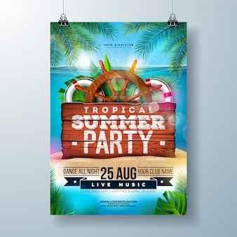 Summer beach party flyer with tropical palm leaves and shipping elements