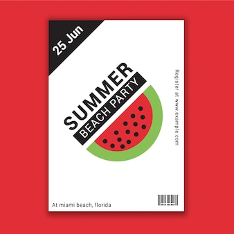 Summer beach party flyer with watermelon design