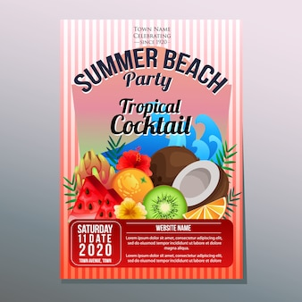 Summer beach party holiday poster template tropical fruit cocktail