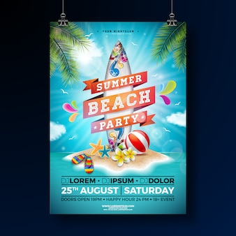 Summer beach party poster template design with flower and surf board.