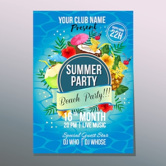 Summer beach party poster template holiday cocktail drink element vector illustration