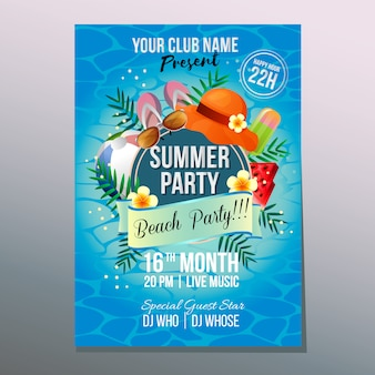 Summer beach party poster template holiday colorful element vector illustration