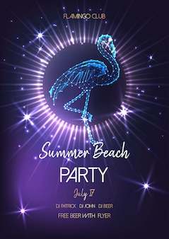 Summer beach party poster with glowing low poly flamingo.