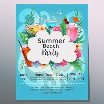 Summer beach party sea wave background tropical cocktail  illustration