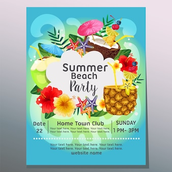 Summer beach party sea wave cocktail poster template vector illustration