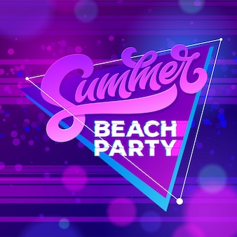 Summer beach party typography.  template for banners, cards, wallpapers, invitations, posters, flyers.  illustration for night club. hand written letterind. modern brush calligraphy.