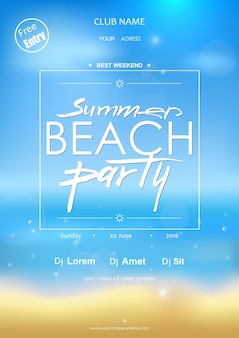 Summer beach party typography template for placard flyer
