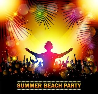 ダンスのシルエットを持つ夏のビーチパーティー