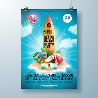 Шаблон флаера или плаката summer beach party с дизайном цветов, пляжного мяча и доски для серфинга
