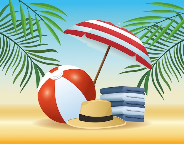 Summer and beach products cartoons