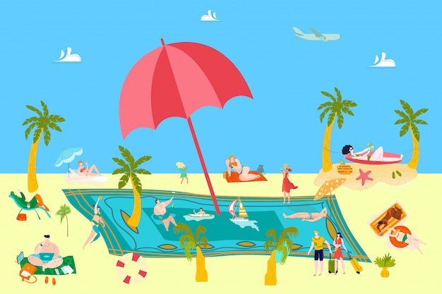Summer beach rest at sea vacation with people sunbathing, sailing surfing on sand, water resort   illustration.