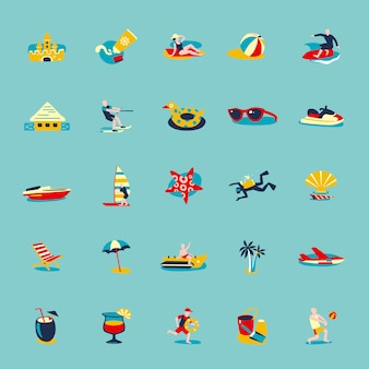 Summer beach retro icons background set