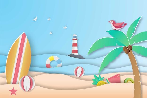 Papercut 스타일에서 여름 해변 판매 배너